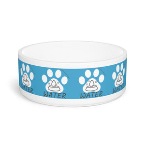 Pet Bowl - Water Bowl For Talking Cats And Talking Dogs - Woof Meow Hello Sticker Label Design