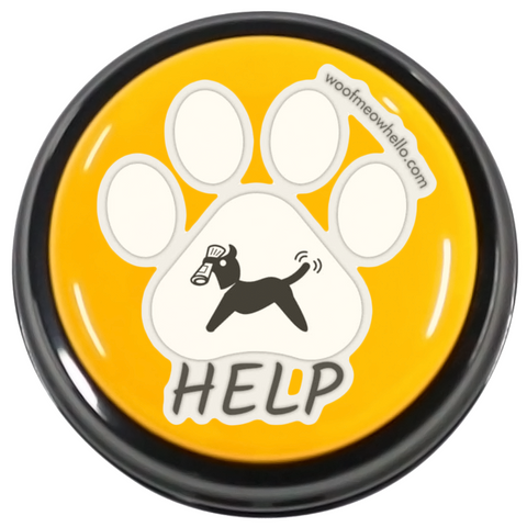 Woof Meow Hello Sticker Label - Help Word Button Label
