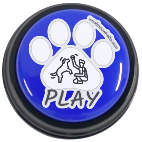 Pet Speech Button Sticker Label - Play