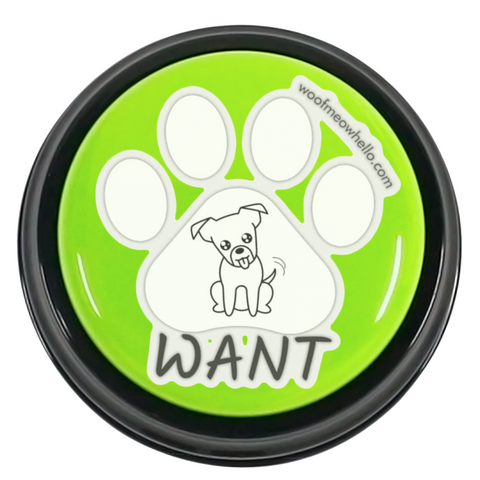 Sticker Label For Dog Talk Buttons - Want