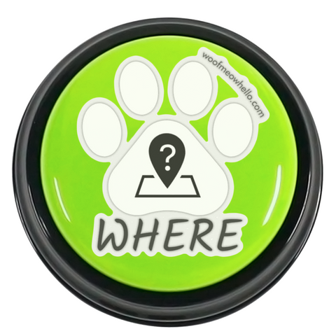 Where - Paw Shaped Pet Speaking Button Sticker Label