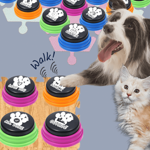 Classic Dog Communication Buttons - Soundboard Buttons For Dogs To Talk Communication buttons Woof Meow Hello