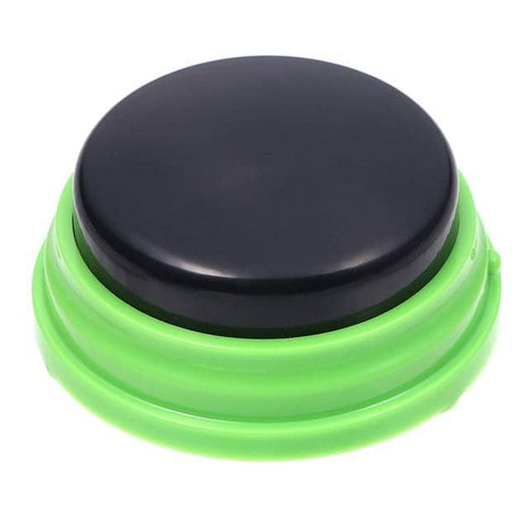 Image of Dog Communication Buttons w/ solid black top - Buttons For Dogs To Talk Communication buttons Woof Meow Hello Green