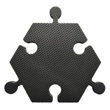 Load image into Gallery viewer, Foam Hexagon Tiles for Communication Buttons (Pack of 6) Floor Tiles Woof Meow Hello Black
