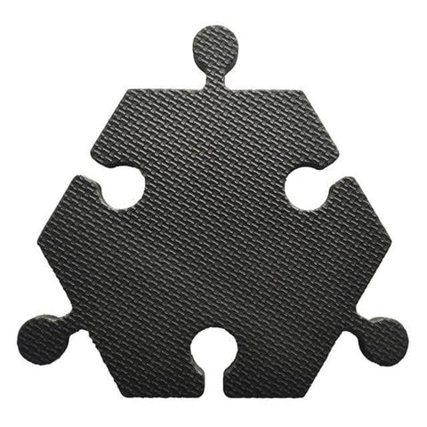 Image of Foam Hexagon Tiles for Communication Buttons (Pack of 6) Floor Tiles Woof Meow Hello Black