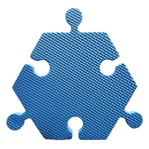 Image of Foam Hexagon Tiles for Communication Buttons (Pack of 6) Floor Tiles Woof Meow Hello Blue