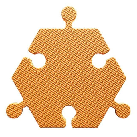 Foam Hexagon Tiles for Communication Buttons (Pack of 6) Floor Tiles Woof Meow Hello Orange