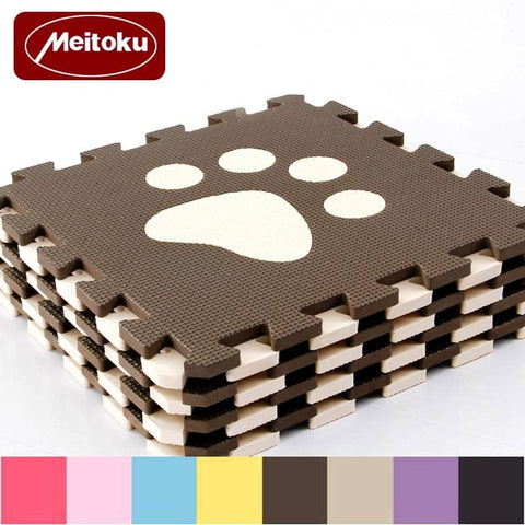 Image of Set of 10 - Paw Print Foam Tiles for Talking Dog Buttons / Talking Cat Buttons Woof Meow Hello