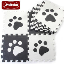 Load image into Gallery viewer, Set of 10 - Paw Print Foam Tiles for Talking Dog Buttons / Talking Cat Buttons Woof Meow Hello Black & White