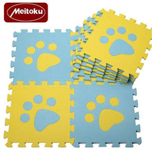 Load image into Gallery viewer, Set of 10 - Paw Print Foam Tiles for Talking Dog Buttons / Talking Cat Buttons Woof Meow Hello Blue & Yellow