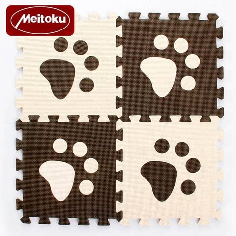 Image of Set of 10 - Paw Print Foam Tiles for Talking Dog Buttons / Talking Cat Buttons Woof Meow Hello Coffee & Beige