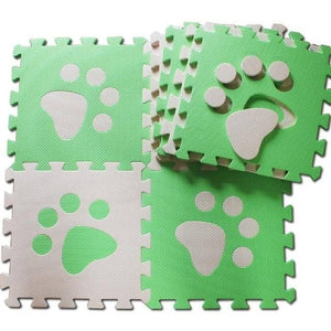 Set of 10 - Paw Print Foam Tiles for Talking Dog Buttons / Talking Cat Buttons Woof Meow Hello Green & Beige