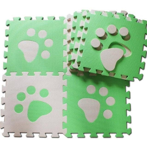 Image of Set of 10 - Paw Print Foam Tiles for Talking Dog Buttons / Talking Cat Buttons Woof Meow Hello Green & Beige