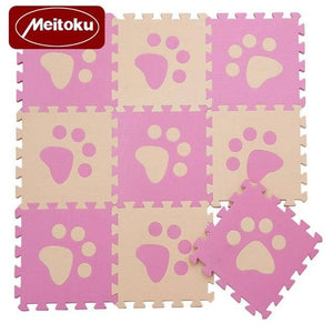 Set of 10 - Paw Print Foam Tiles for Talking Dog Buttons / Talking Cat Buttons Woof Meow Hello Pink & Beige