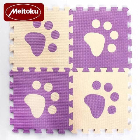 Image of Set of 10 - Paw Print Foam Tiles for Talking Dog Buttons / Talking Cat Buttons Woof Meow Hello Purple & Beige