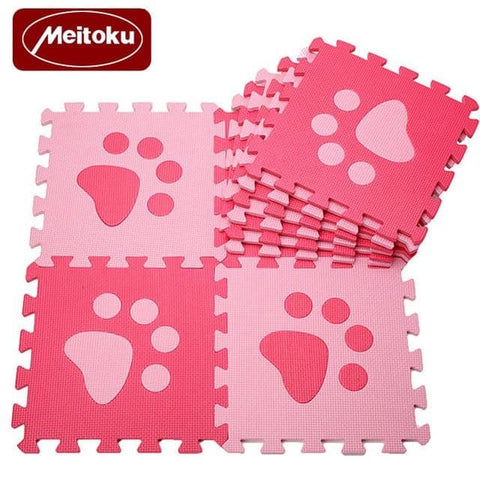 Image of Set of 10 - Paw Print Foam Tiles for Talking Dog Buttons / Talking Cat Buttons Woof Meow Hello Red & Pink