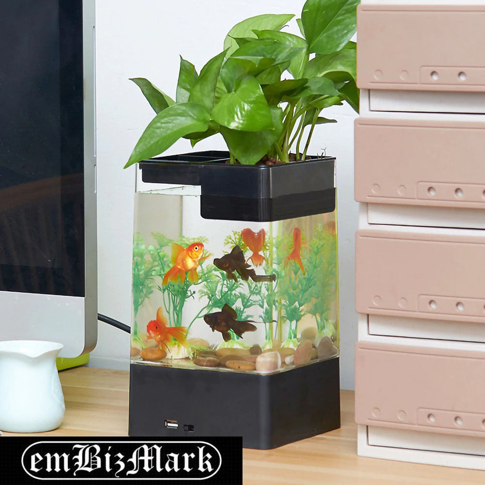 Self-Cleaning Fish Tank Lazy Small Acrylic Fish Tank Desktop Transparent Bucket Fish Tank Ecological Bare Cylinder