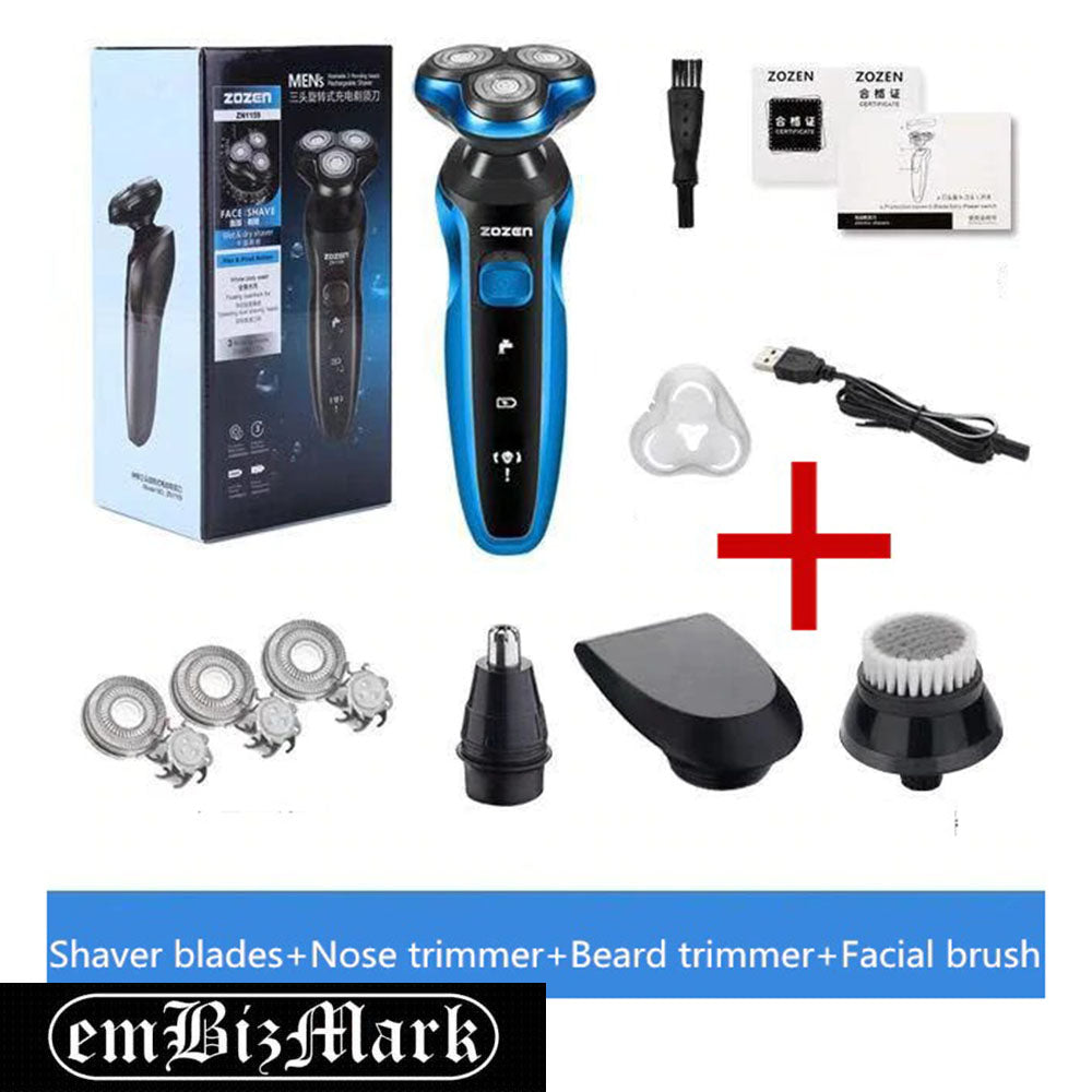 Triple Floating Blade Heads Rechargeable Electric Shaver Shaving Machine Razor Beard Trimmer Face Care for Men