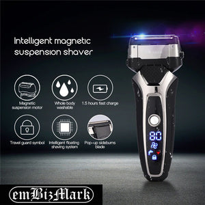 USB Rechargeable Electric Shaver Stainless Steel Shaving Machine Men 3D Triple Floating Blade Razor Shaver barbeador eletrico