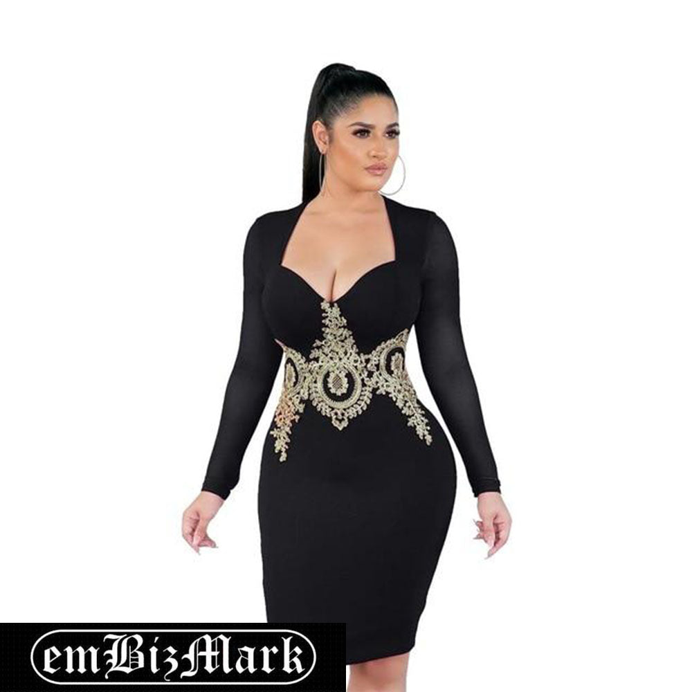 New Fashion Strapless Women Dress Bandage Bodycon Desigual Dress Long Sleeve Embroidery Party Dress