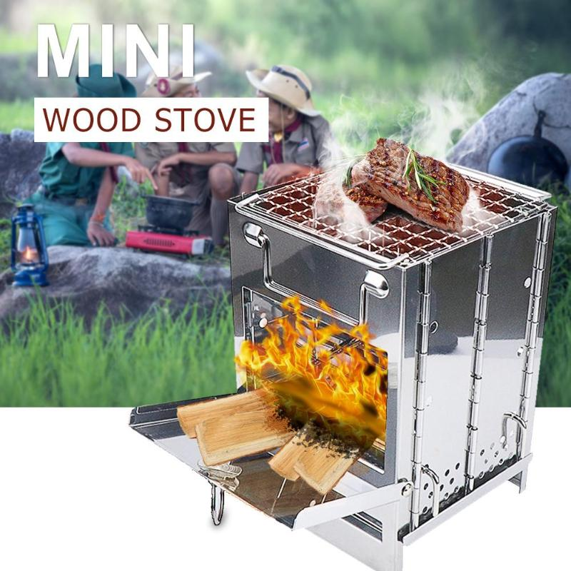 Outdoor Camping firewood Stove Suit for Home Upgraded  mini square BBQ portable wood stove stainless steel folding wood stove
