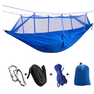 VILEAD 260*140 cm Camping Hammock with Mosquito Portable Stable High Strength Canvas  Hanging Bed Sleeping Hiking Camping Cot