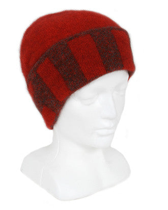 NZ Possum & Merino Directional Stripe Beanie - Pumpkin