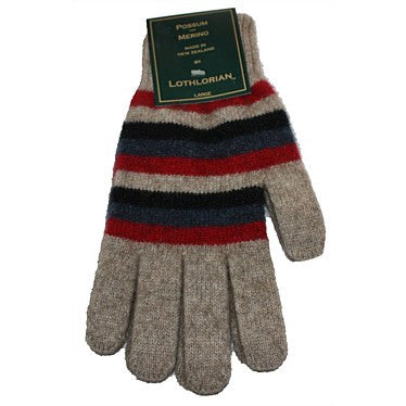 NZ Possum & Merino Multi Striped Gloves - Natural