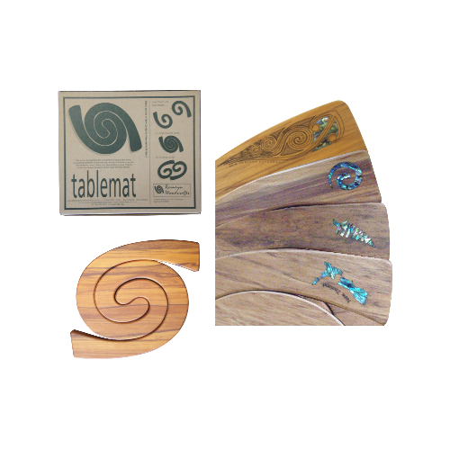 Kauri Table Mat 2 in 1 - Silver Fern Shaped Paua Inlay