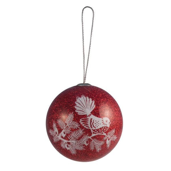 Woodcut Fantail Red- Christmas Decoration