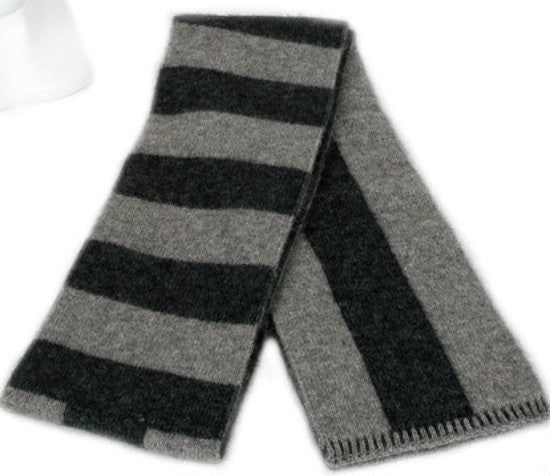 NZ Possum & Merino Directional Stripe Scarf - Silver