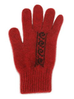 NZ Possum & Merino Koru Gloves - Red