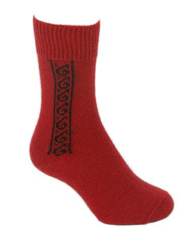 NZ Possum & Merino Koru Socks - Red