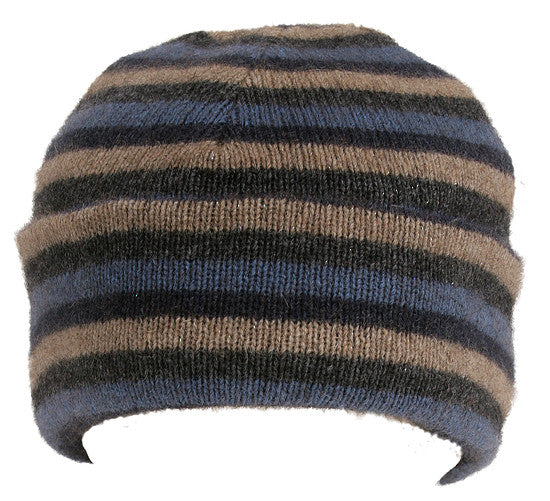 NZ Possum & Merino Multi Striped Beanie - Denim