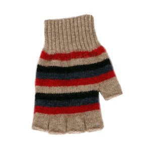 NZ Possum & Merino Multi Striped Fingerless Glove - Natural