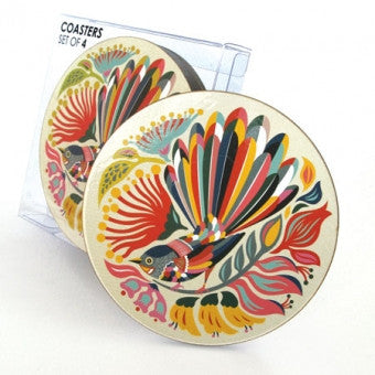 "Coaster Set ""Colorful Fantail"""