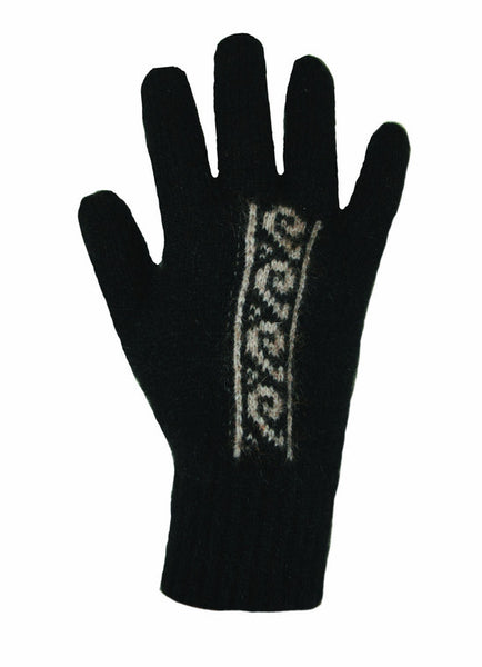 NZ Possum & Merino Koru Gloves - Black