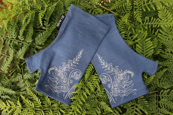 Mitts Fern Merino - Blue Night