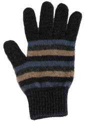 NZ Possum & Merino Multi Striped Gloves - Denim