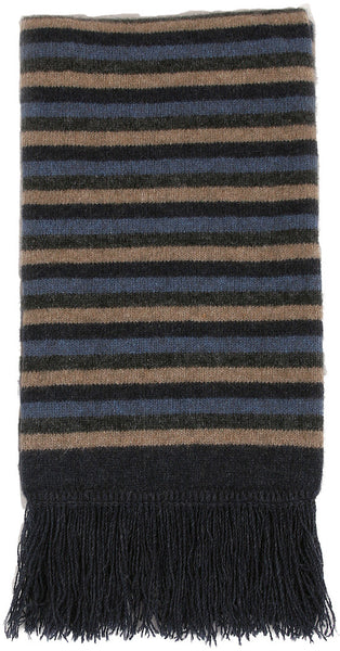 NZ Possum & Merino Multi Striped Scarf - Denim