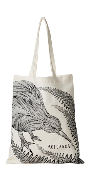 Cotton Shopping Bag Sketched Kiwi