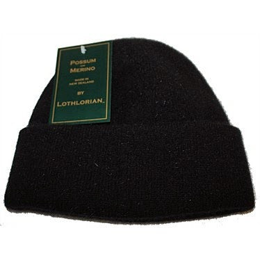 NZ Possum & Merino Plain Beanie - Black