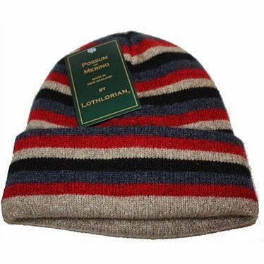 NZ Possum & Merino Multi Striped Beanie - Natural