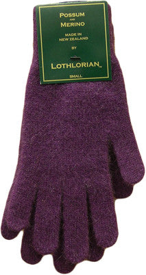 NZ Possum & Merino Plain Gloves - Berry