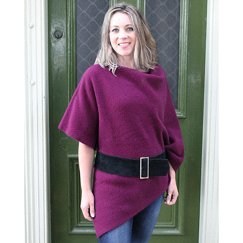 NZ Possum & Merino Zippered Wrap - Berry