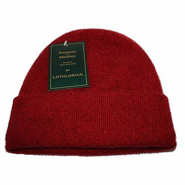 NZ Possum & Merino Plain Beanie - Red