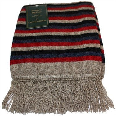NZ Possum & Merino Multi Striped Scarf - Natural