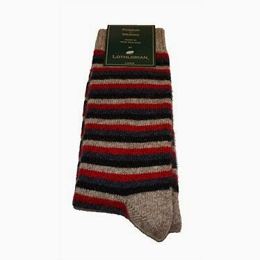 NZ Possum & Merino Multi Striped Socks - Natural