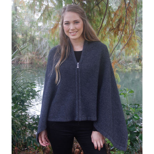 NZ Possum & Merino Zippered Wrap - Charcoal