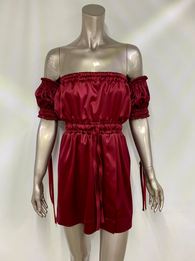 Burgundy Satin Off the Shoulder Dress